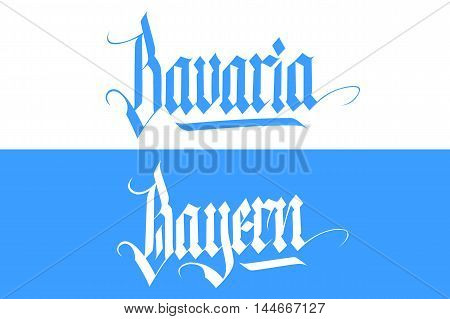 Bavaria and Bayern handwritten inscription. Hand drawn lettering in national german style. Calligraphic element for your design. Vector illustration.