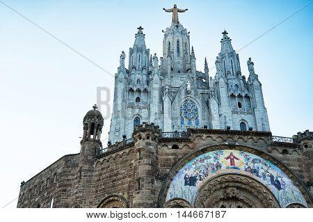 The Church of the Sacred Heart. Mount Tibidabo in Barcelona, Catalonia