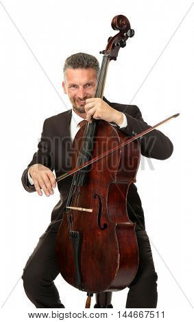 Man playing cello on white background