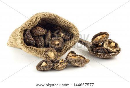 Dried Shiitake Mushrooms On White