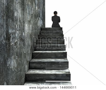Rear View Of Man Sitting On Top Of Concrete Stairs