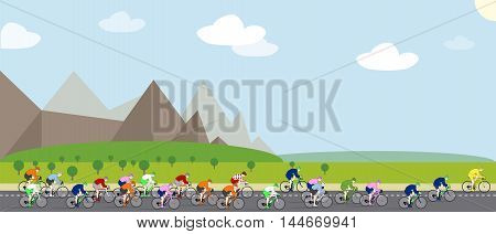 Illustration of a Cycling Race with Landscape