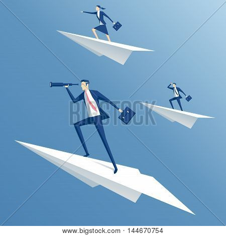 businessman flying on a paper airplane and looking through a telescope business people flying in paper planes business concept team and leadership