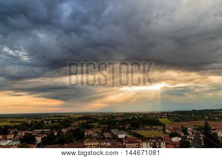 Evening Storm Over The Medieval Village