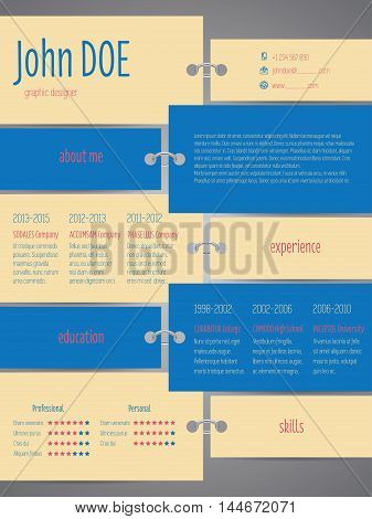 Tags with rings cv curriculum vitae resume template design