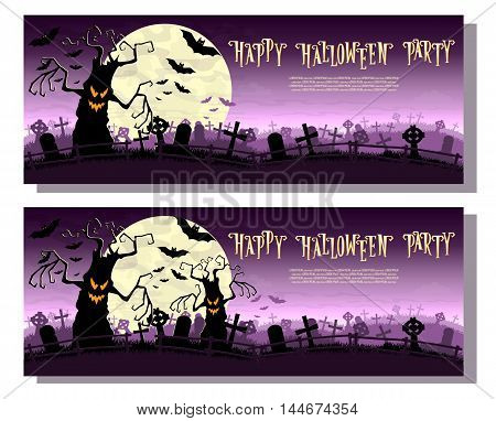 Halloween Background. Scary Monsters Trees On Old Cemetery Backdrop Moon, Bats And Graves. Design Fo