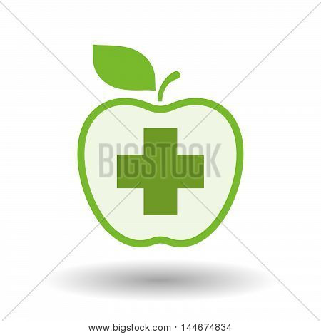 Isolated  Line Art Apple Icon With A Pharmacy Sign