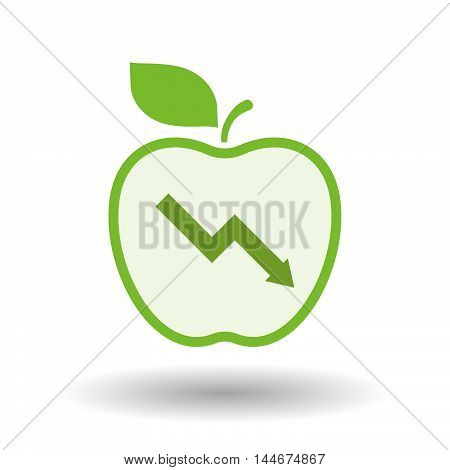 Isolated  Line Art Apple Icon With A Descending Graph