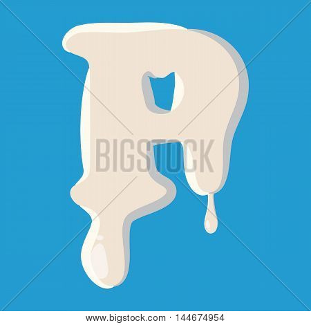 P letter isolated on baby blue background. Milky P letter vector illustration
