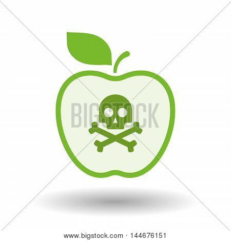 Isolated  Line Art Apple Icon With A Skull