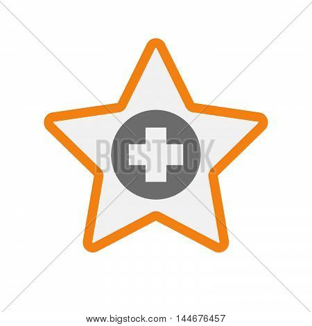 Isolated  Line Art Star Icon With A Round Pharmacy Sign