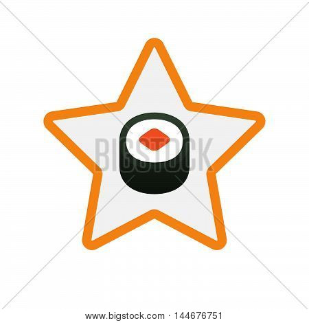 Isolated  Line Art Star Icon With A Piece Of Sushi Maki