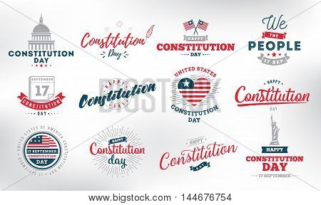 USA constitution day emblems set. 17 september. Isolated vector elements. Logo and calligraphy design. Usable for greeting cards, posters, banners.