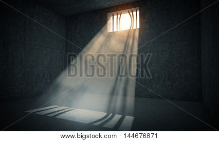 windows jail and sun rays 3d image