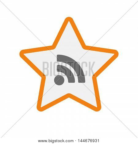 Isolated  Line Art Star Icon With