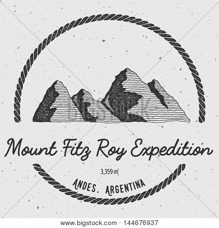 Fitz Roy In Andes, Chile Outdoor Adventure Logo. Round Trekking Vector Insignia. Climbing, Trekking,