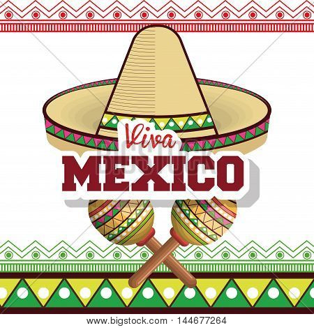 viva mexico sombrero poster icon vector illustration design