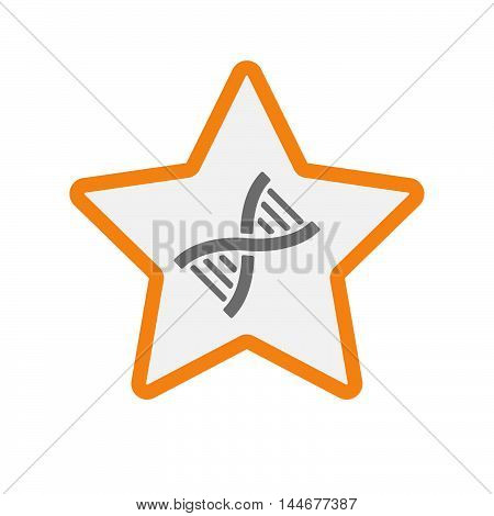 Isolated  Line Art Star Icon With A Dna Sign