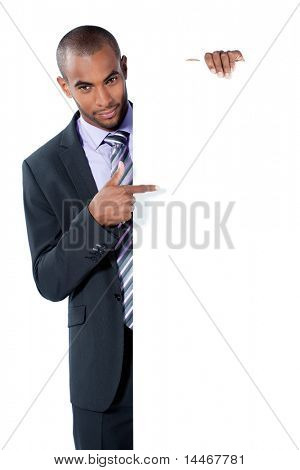 black businessman with panel