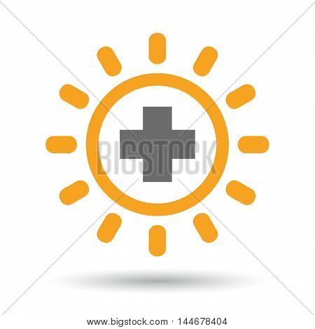 Isolated  Line Art Sun Icon With A Pharmacy Sign
