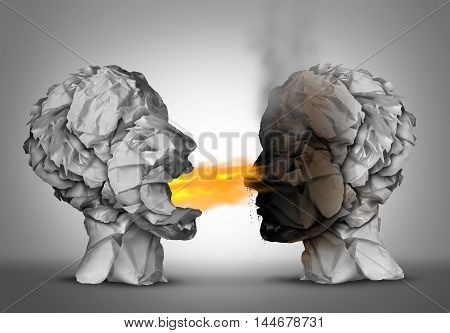 Debate winner and incendiary inflammatory language or winning an argument or debating ideas as a group of crumpled paper shaped as a human head blowing flames of fire and burning the flammable opponent with 3D illustration elements.