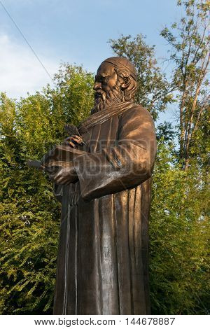 ASTRAKHAN, RUSSIA - August 27, 2016 - First monument to Persian philosopher and poet Omar Khayyam Nishapuri in Russia.
