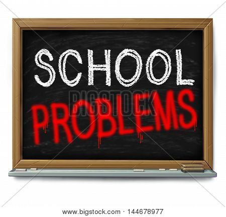School problems and failing schools concept as a chalk blackboard with text written as an education trouble symbol or literacy and learning challenge or crime in a learning facility wioth 3D illustration elements.