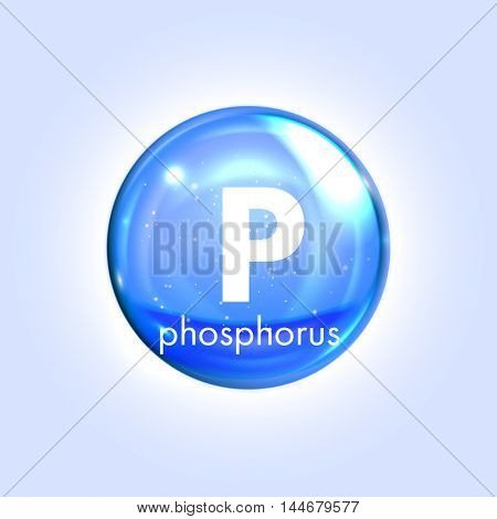 Phosphorus mineral blue icon. Vector 3D glossy drop pill capsule. Mineral and vitamin complex. Healthy life medical and dietary supplement