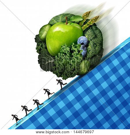 Healthy eating pressure as green vegetables and fresh fruit shaped as a ball rolling down a cliff with people running away as a concept of the difficult challenges of maintaining a regimen of good nutrition with 3D illustration elements.