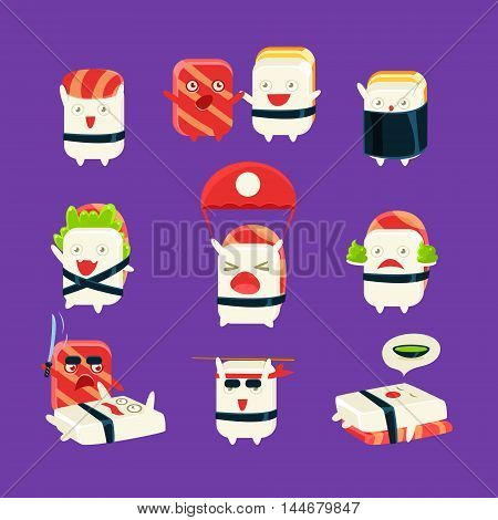 Funny Sushi Man Different Activities. Set Of Silly Childish Drawings Isolated On Dark Background. Funny Creature Colorful Vector Stickers Set.
