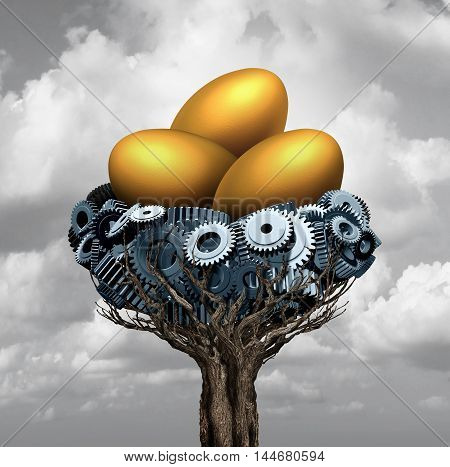 Business nest egg concept as a group of gears and cog wheels shaped as a nesting area for gold as a corporate and industry metaphor for financial investing success for corporation prosperity with 3D illustration elements.