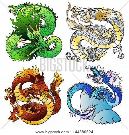 Set of four Asian east dragons of different flowers and elements on the Chinese horoscope. Playful green wood monster. Majestic white metal pangolin. Cheerful red fiery dragon. Newborn blue water spirit. Vector