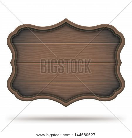 Brown vintage wooden signboard, plate or plank, isolated on white background