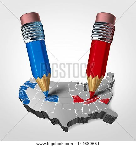 Blue and red states concept as an American election fight as republican versus democrat represented by two pencils coloring the states as a symbol for the vote of the United states presidential and government seat as a 3D illustration.