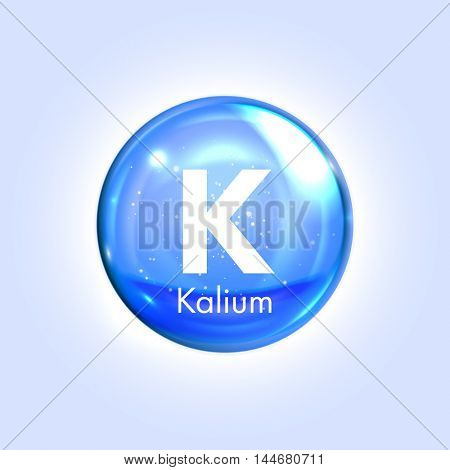 Potassium mineral blue icon. Vector 3D glossy drop pill capsule  Kalium mineral and vitamin complex. Healthy life medical and dietary supplement