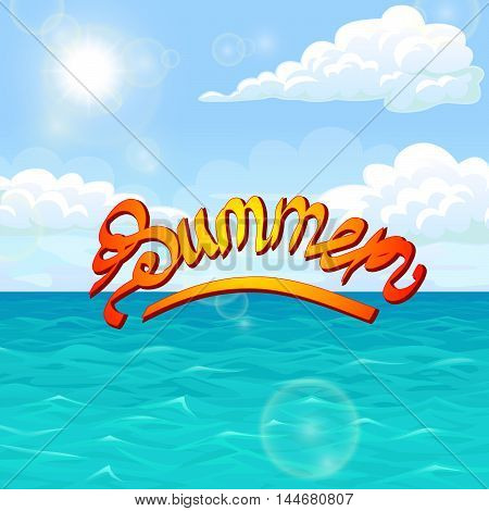 Summer orange red lettering on sea landscape. Ocean, blue waves, sky, clouds, horizon and sun. Vector illustration of a square format.
