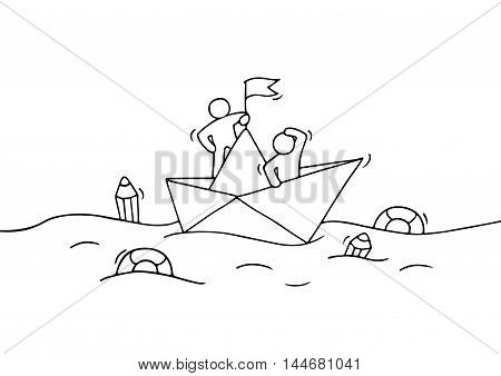Sketch of working little people with paper boat. Doodle cute miniature scene of workers with discovery concept. Hand drawn cartoon vector illustration for business design.