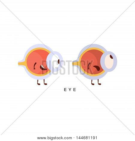 Healthy vs Unhealthy Eye Infographic Illustration.Humanized Human Organs Childish Cartoon Characters On White Background