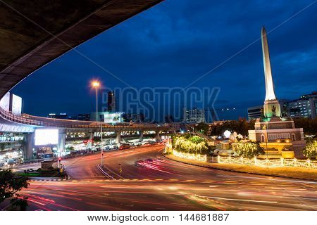 Victory Monument At Dusk, Bangkok