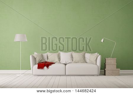 Living room with sofa and empty green wall (3D Rendering)