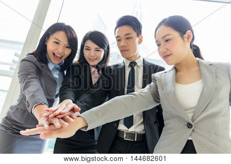 Group of buisness people hand joining together