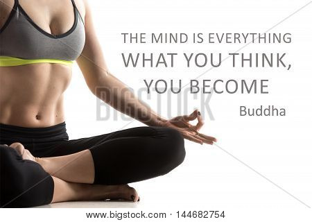 Sporty fit beautiful young woman in sportswear bra and black pants working out meditating. Studio close-up shot. Motivational text