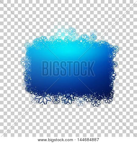 Blue baner with snowflakes at transparent background. Clear bubble for your text. Frozen sticker with snow. Vector design.