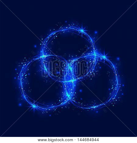 Abstract burning circles and glitter swirl trail effect on background.Abstract circle light effect.Magic shining lights ring.Glowing lights circle with magic fire ring trace.Bokeh glitter round ellipse line with flying sparkling flash lights.Vector illust