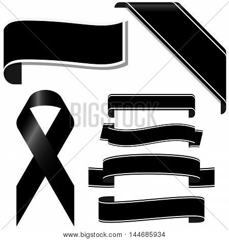 collection of black mourning ribbon and banners for sorrowful times