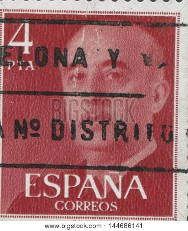 SPAIN - CIRCA 1949: Stamp printed in Spain showing a portrait of General Francisco Franco 1892-1975 , series