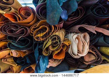Bundle Of Artificial Genuine Cow Leather Variety Shades Of Colors In Shop
