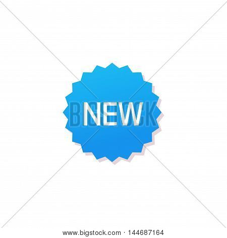 New product badge isolated on white, flat blue color new label rosette promotion sticker