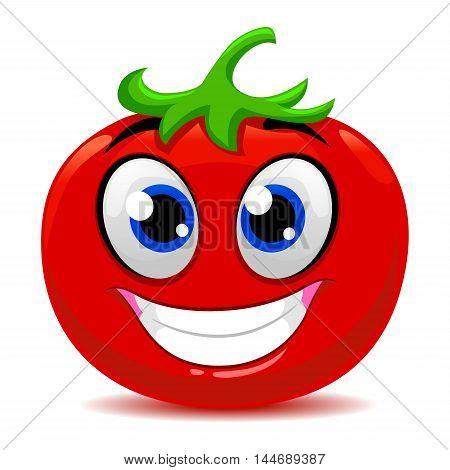 Vector Illustration of Cute Cartoon Tomato Mascot