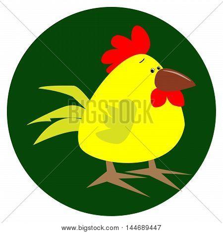 Cartoon chicken bird isolated on background. Chicken, bird, farm bird. Vector chicken farm animal. Cute chicken vector illustration. Chicken farm animal